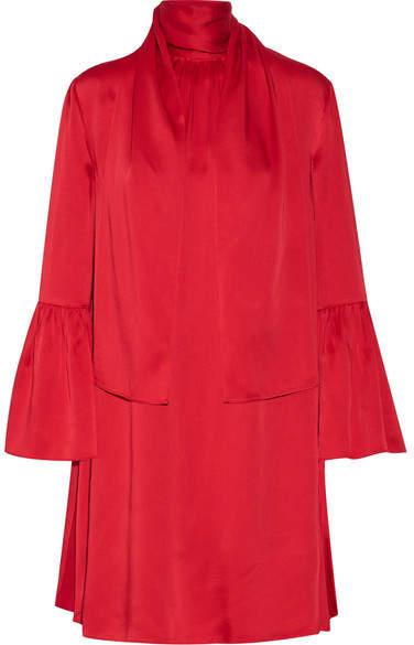 Fendi - Pleated Washed-satin Mini Dress - Crimson