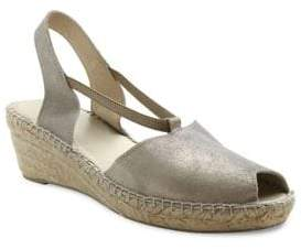 Andre Assous Dainty Metallic Suede Slingback Wedge Sandals