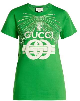 Gucci Crystal Embellished Logo Print Cotton T Shirt - Womens - Green