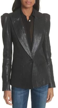 Smythe Metallic Linen Puff Sleeve Blazer