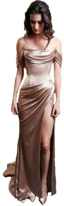 CongYunGe Off the Shoulder Mermaid Prom Evening Dresses High Slit Formal Gown US