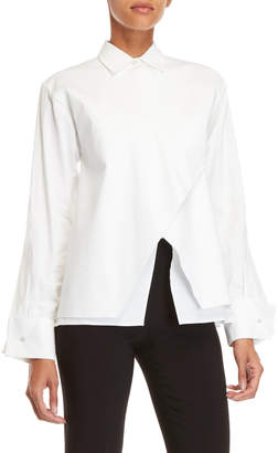 Antonio Berardi White Layered Envelope Hem Shirt