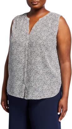 NYDJ Plus Plus Size Sleeveless Paisley Button-Front Blouse
