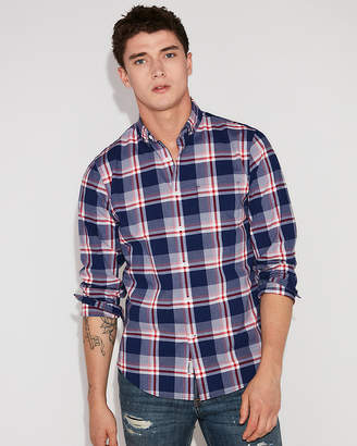 Express Slim Soft Wash Large Plaid Button-Down Shirt