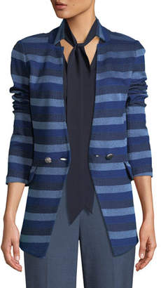St. John Held Stitch Overlay Striped Knit Jacket