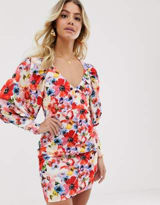Asos Design DESIGN button through mini dress with statement sleeve in painted floral print