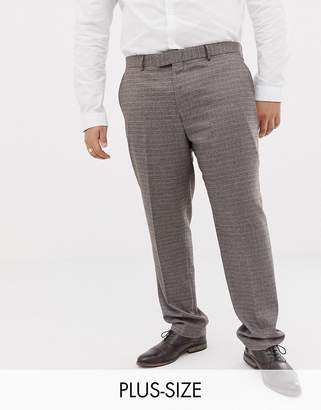 Harry Brown Plus Brown micro-check slim fit suit pant