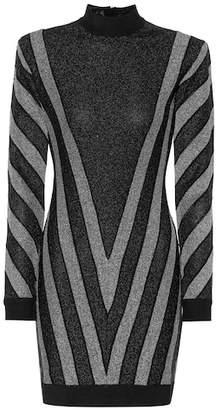Balmain Striped metallic minidress