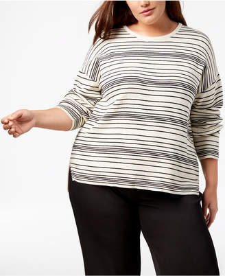 Eileen Fisher Plus Size Organic Cotton Striped Sweater