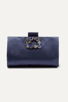 Roger Vivier Crystal-embellished Satin Clutch - Navy