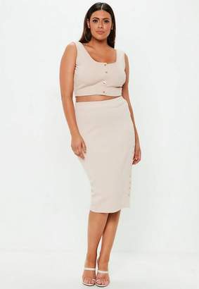 Missguided Plus Size Curve Ribbed Midi Skirt
