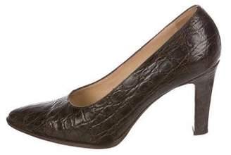 Gucci Crocodile Pointed-Toe Pumps