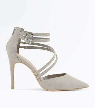 5f9391c72871 New Look Wide Fit Grey Suedette Asymmetric Strap Pointed Heels