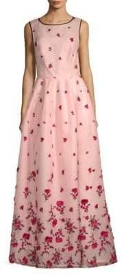 Oscar de la Renta Floral Floor-Length Gown