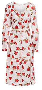 Altuzarra Women's Rose Print Side Slit Shirtdress