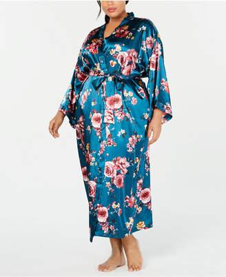 Thalia Sodi Plus Size Floral-Print Long Wrap Robe