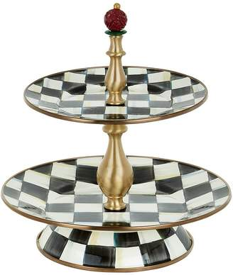 Mackenzie Childs Mackenzie-childs Courtly Check Enamel Two-Tier Sweet Stand