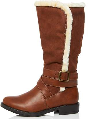 86c3f2bb5ca5 at Quiz Clothing · Quiz Tan Faux Fur Trim Buckle Calf Boots