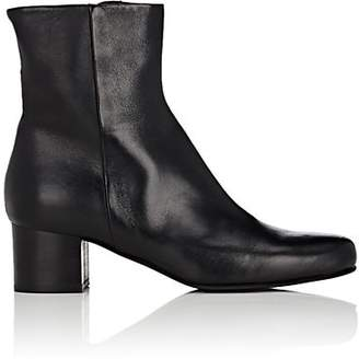 Barneys New York WOMEN'S LEATHER SIDE-ZIP ANKLE BOOTS - BLACK SIZE 6