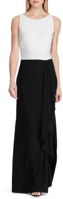 Lauren Ralph Lauren Two-Tone Sleeveless Jersey Gown