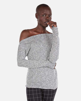 Express Heathered Ribbed Off The Shoulder Tee