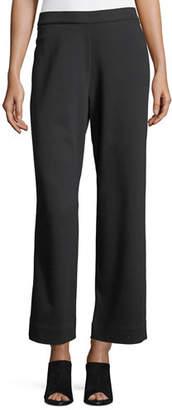 Joan Vass Stretch-Interlock Ankle Casual Pants, Plus Size