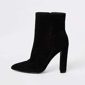 River Island Black suede pointed toe block heel boot