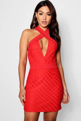 boohoo Lace Cross Over Detail Bodycon Dress
