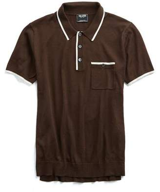 Todd Snyder Italian Silk/Cotton Tipped Knit Polo in Brown