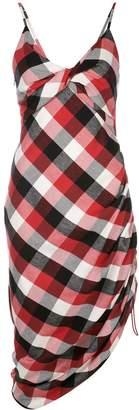 Monse check-print draped dress