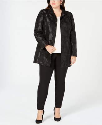 Kasper Plus Size Floral-Jacquard Suit Jacket