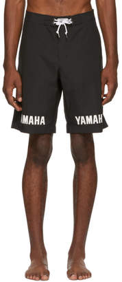 John Elliott Black Yamaha Edition Logo Swim Shorts