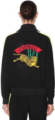 Kenzo Embroidered Zip-Up Crepe Track Jacket