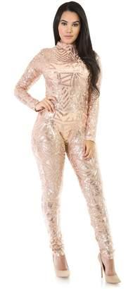 Allonly Women's Long Sleeve Sequins Jumpsuit Romper Suit Club Cocktail