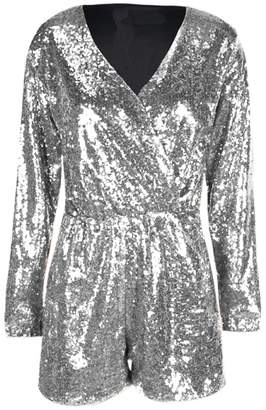 hodoyi Womens Sparkly Sequin Long Sleeve Deep V-Neck Wrap Short Romper Jumpsuit