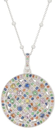 "2.50 cttw Multi Sapphire Enhancer with 36"" Chain Sterling Silver"
