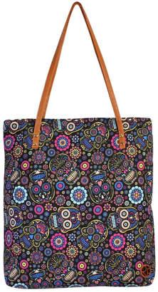 Riah Fashion Black-&-Blue Sugar-Skull-Tote-Bag