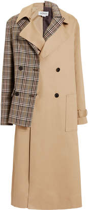 Monse Half And Half Plaid Trench Coat