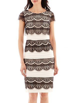 Ombre Melrose Short-Sleeve Lace-Overlay Shutter-Pleat Dress $80 thestylecure.com