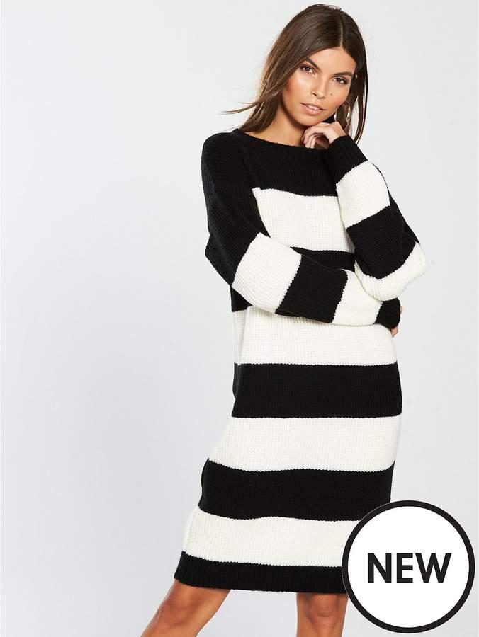 High Crew Neck Stripe Dress - Stripe