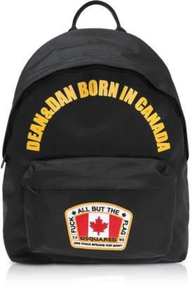 DSQUARED2 Black Nylon Medium Backpack w/Flag Patch