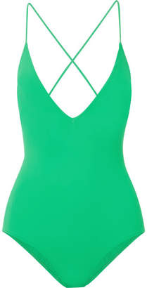 Emma Pake - Antonia Lace-up Swimsuit - Bright green