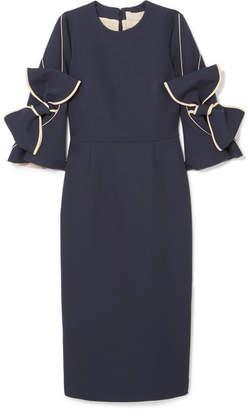 Roksanda Lavete Bow-embellished Crepe Midi Dress - Midnight blue