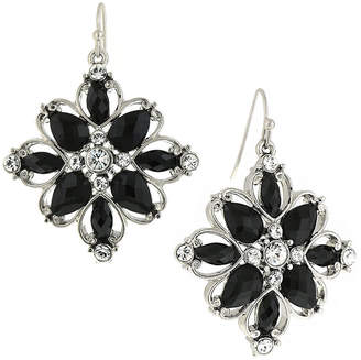 1928 Jewelry Silver-Tone Black Stone and Crystal Flower Drop Earrings