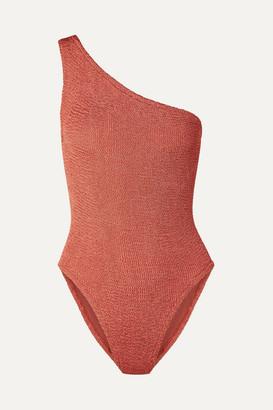 Hunza G Nancy One-shoulder Seersucker Swimsuit - Brick