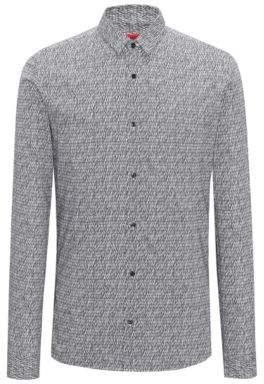 HUGO Boss Extra-slim-fit cotton shirt graphic pigment print XL Black