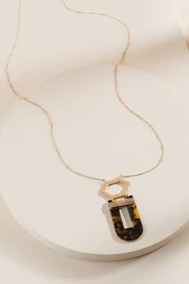 francesca's Julia Multi-Shape Pendant Necklace - Amber
