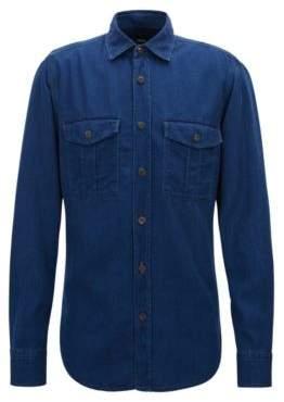 BOSS Hugo Regular-fit twill shirt washed finish M Dark Blue