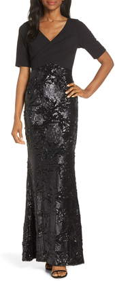 Adrianna Papell Sequin Evening Dress