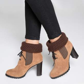 La Redoute Collections Lace-Up Leather Boots with Wool Collar